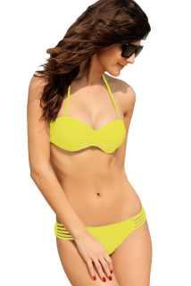Plavky Cut-out Strappy Yellow